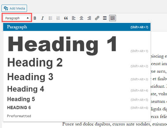 Creating a heading by clicking on the Paragraph drop-down in the classic editor