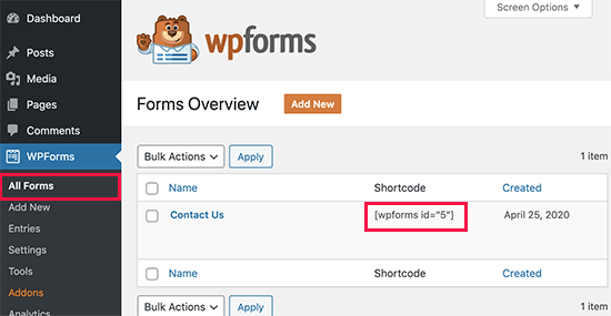 WordPress contact form shortcode to use in post and pages