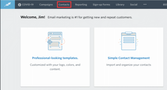 Contacts button in Constant Contact