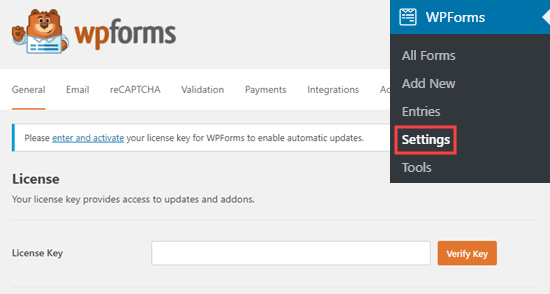 Entering your WPForms license key on your site