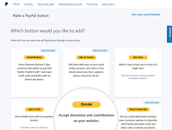 Select the Donate button type