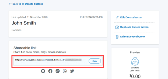 Getting the shareable link for your new PayPal donate button