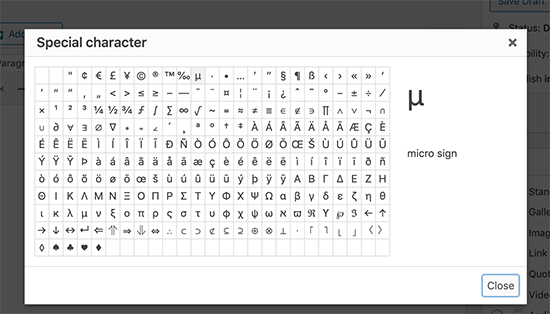 Special characters popup in old WordPress editor