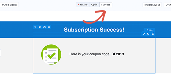 Success view to reveal discount code