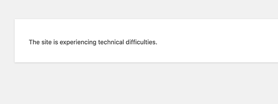 Site experiencing technical difficulties