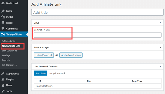 Adding a link in ThirstyAffiliates