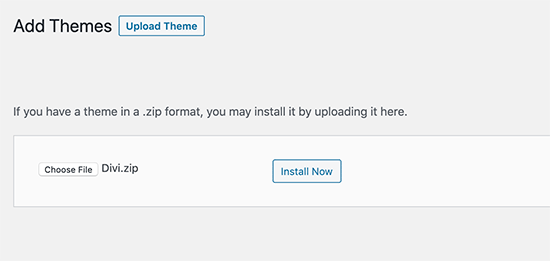 Upload and install theme