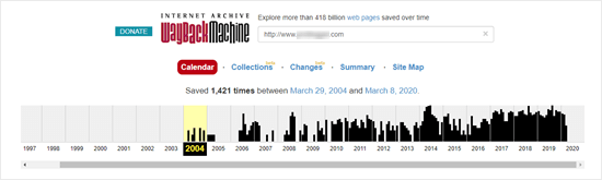 Viewing the website history of a domain name using the WayBack machine
