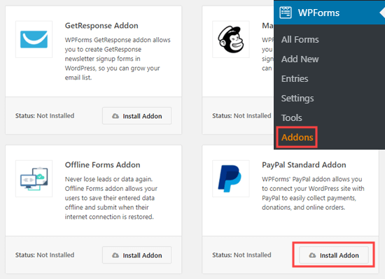 Installing the PayPal Standard addon in WPForms