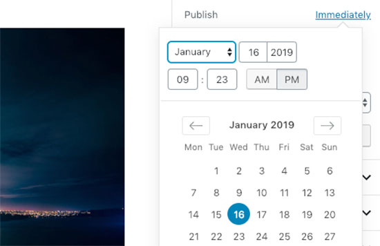 Post publish date and time