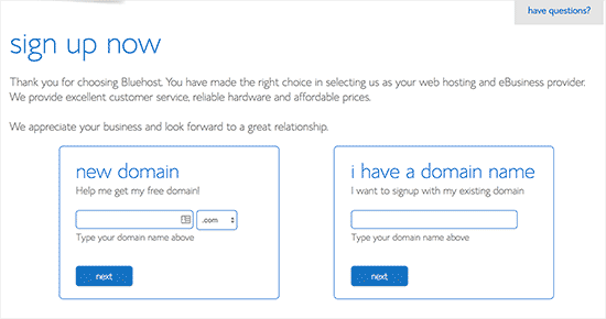 Select domain name you want to register