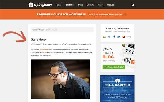 Start here page