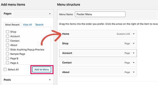 Add pages to menu
