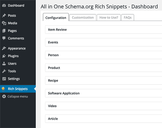 All in One Schema.org supported content types
