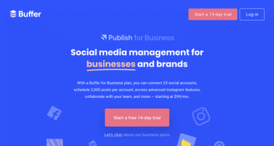 Buffer for Business homepage