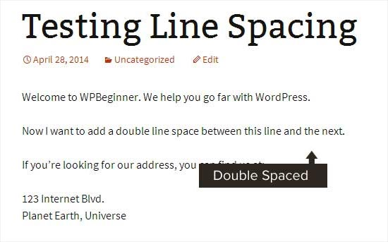 Double line space added to create paragraph in WordPress