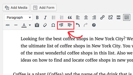 Increase indent and decrease indent buttons in WordPress editor