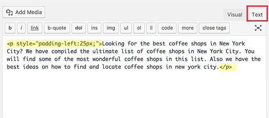Manually indent paragraphs using inline CSS