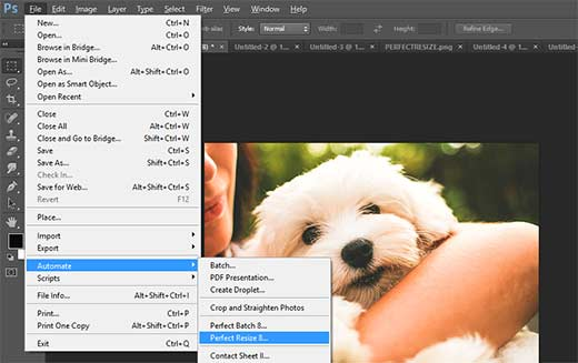 Opening an image in Perfect Resize from Adobe Photoshop