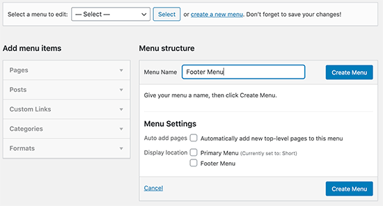 Enter a name for your footer menu