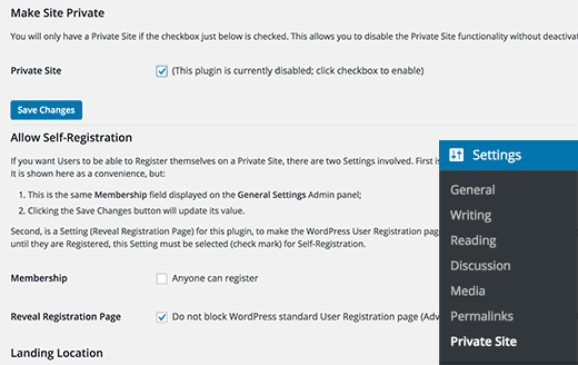 Private site settings page