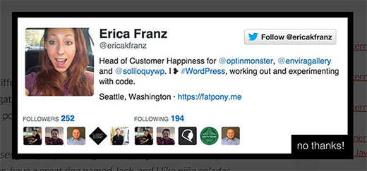Getting more Twitter followers using lightbox popup