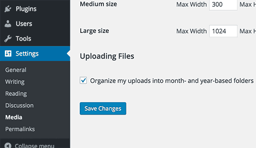 Organizing uploads in months and year based folders